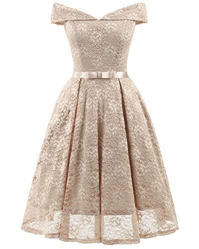 YZT QUEEN Damen Brautjungfer Floral Lace Kleid Vintage Elegante Formale Cocktailkleid Matching Belt,Apricot,XL