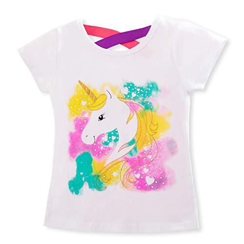 TTYAOVO Camiseta de Algodón Unicornio para Niñas, Camiseta de Manga Corta para Niños Camiseta de Impresión Unicornio Lindo Tamaño 3-4 Años Blanco