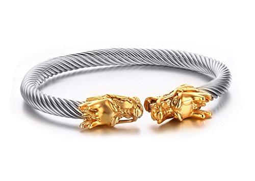 VNOX Hombres de Acero Inoxidable Frente a Oro Dragon Head Wire Viking Brazalete Brazalete Pulsera Plata