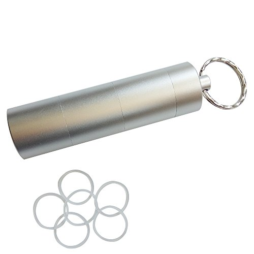 Baanuse Tablettenbox Pillendose Pillenbox, Schlüsselanhänger Wasserdicht Aluminiumkapsel, 3 Fächer Silber