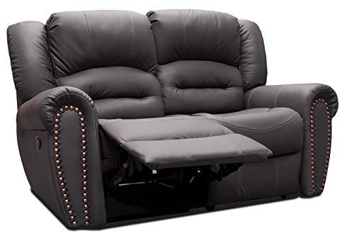 Love Seat de Piel Genuina Oxfordn con Dos reclinables (Gris Oxford)