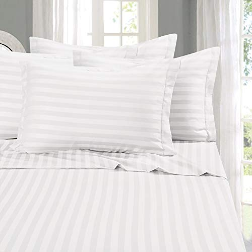 Elegant Comfort 00RW-STRIPE-6PC-King-White  Best, Softest, Coziest 6-Piece Sheet Sets! - 1500 Thread Count Egyptian Quality Luxurious Wrinkle Resistant 6-Piece Damask Stripe Bed Sheet Set, King White