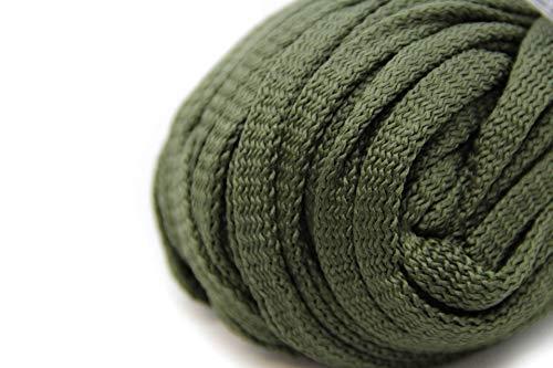 NTS Nähtechnik 50m Flachkordel aus Polyester ohne Kern 8mm breit (Olivgrün)