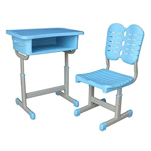 TGDY Student Schreibtische Und Stühle, Ergonomisches Kindertisch- Und Rückenlehnen-Stuhlset Arbeitstisch Für Studien Mit Großem Speicherplatz Single Home Study,Light Blue,B