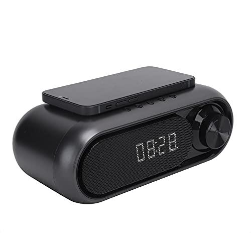 Reloj Despertador Bluetooth, Altavoces de cabecera multifuncionales, Altavoz inalámbrico, Altavoz Bluetooth, Carga inalámbrica, Micrófono Incorporado, Radio FM