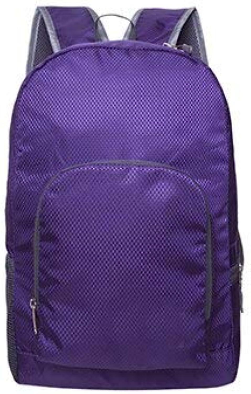 Einfache Outdoor tragbare Faltbare Schule Rucksack Ultra leicht Reise Lauftaschen wasserdicht Nylon Knapsack Rucksack Yoga Tasche 31x15x41cm purpurn