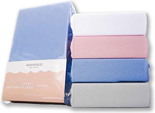 Rosenfeld Spannbettlaken Jersey - 100% extra Dicke und weiche Baumwolle, Spannbettlaken 180x200cm - Bettlaken für Steghöhe bis 30 cm, blau
