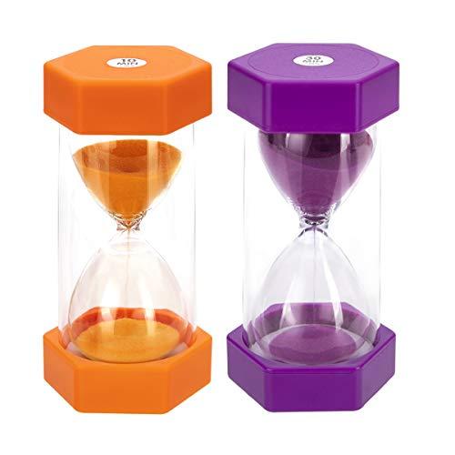 JUNDUN Sanduhren 2 Farben Sanduhr Set 10/30 Minuten Dekoration Zeitmesser Timer für Kinder Klassenzimmer Küche Spiele Bürsten Zuhause Büro (2 Stück)