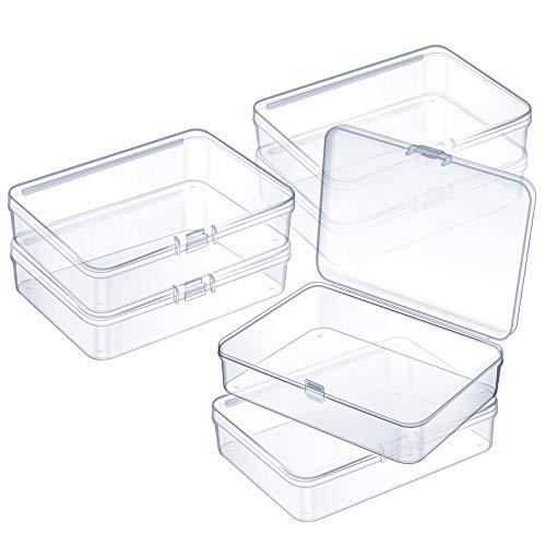 6 Mini Scatola di Contenitori di Plastica Trasparente Perline per Raccolta di Piccoli Oggetti, Perline, Gioielli, Biglietti Visita, Pezzi di Gioco (4,45 x 3,3 x 1,18 Pollici)