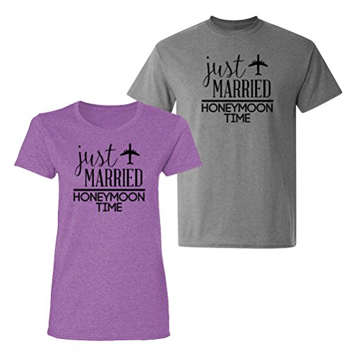 We Match! - Couple Shirts - Just Married Honeymoon Time - Matching Couples T-Shirt Set (Ladies X-Large, Mens Medium, Heather Orchid/Graphite Heather, Black Print)