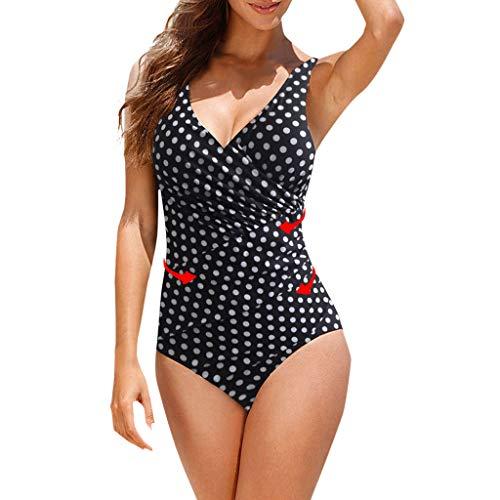 Traje de Baño de una Sola Pieza de Lunares para Mujer Tallas Grandes Sexy Traje De Baño Cuello Halter Vintage Atractivo Conjunto Push up Bikini Playa Beachwear riou