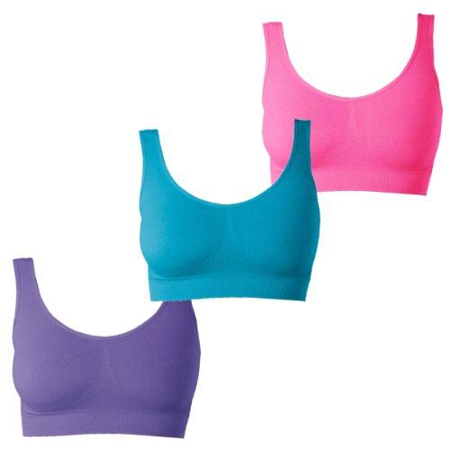 UnsichtBra Bustier Damen BH ohne Buegel mit Polstern | 3er Set Wohlfühl Bustiers Tops | Bügelloser Soft Bra Bralette Pink, Blau, Lila (G_PiBlaLi)(XL)