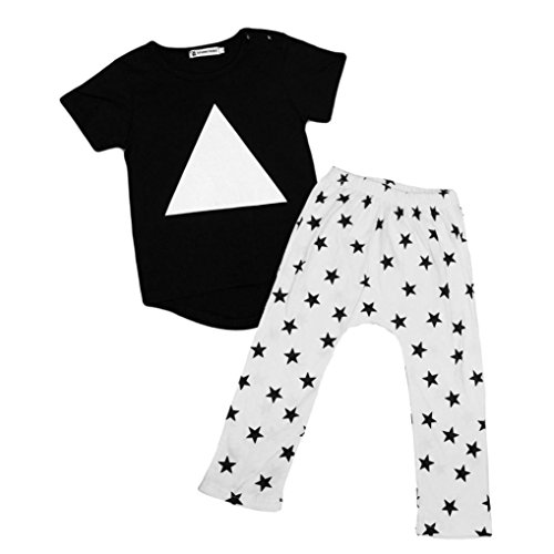 kingko® 1Réglez Infant Toddler bébés garçons Géométrie impression à manches courtes T-shirt Tops + Pantalons Tenues Vêtements (9M)