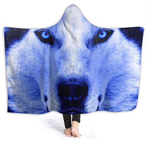 Yuanmeiju Wolf Portrait Wearable Flannel Blanket Throw Super Soft Plush Luxury Lightweight for Sofa Couch Bed for Erwachsene