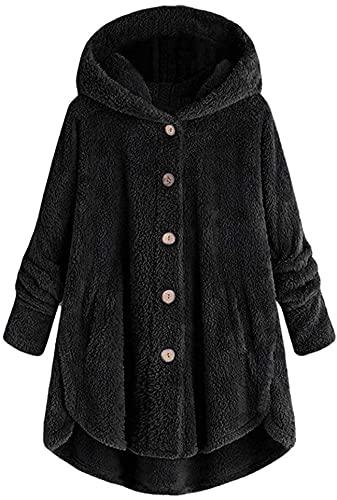 Más el tamaño Tops para mujer Botón de felpa con capucha suelta Cardigan abrigo de lana chaqueta de invierno, Negro, 5XL