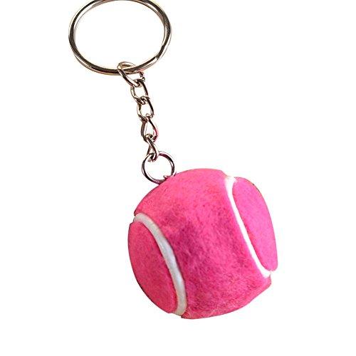 Cosanter Moda Creative de Pelota de Tenis Llaveros Deportes Llavero Bolso de Mano Bolso Coche teléfono Colgante Accesorios (Rosa) 8 x 3,5 cm