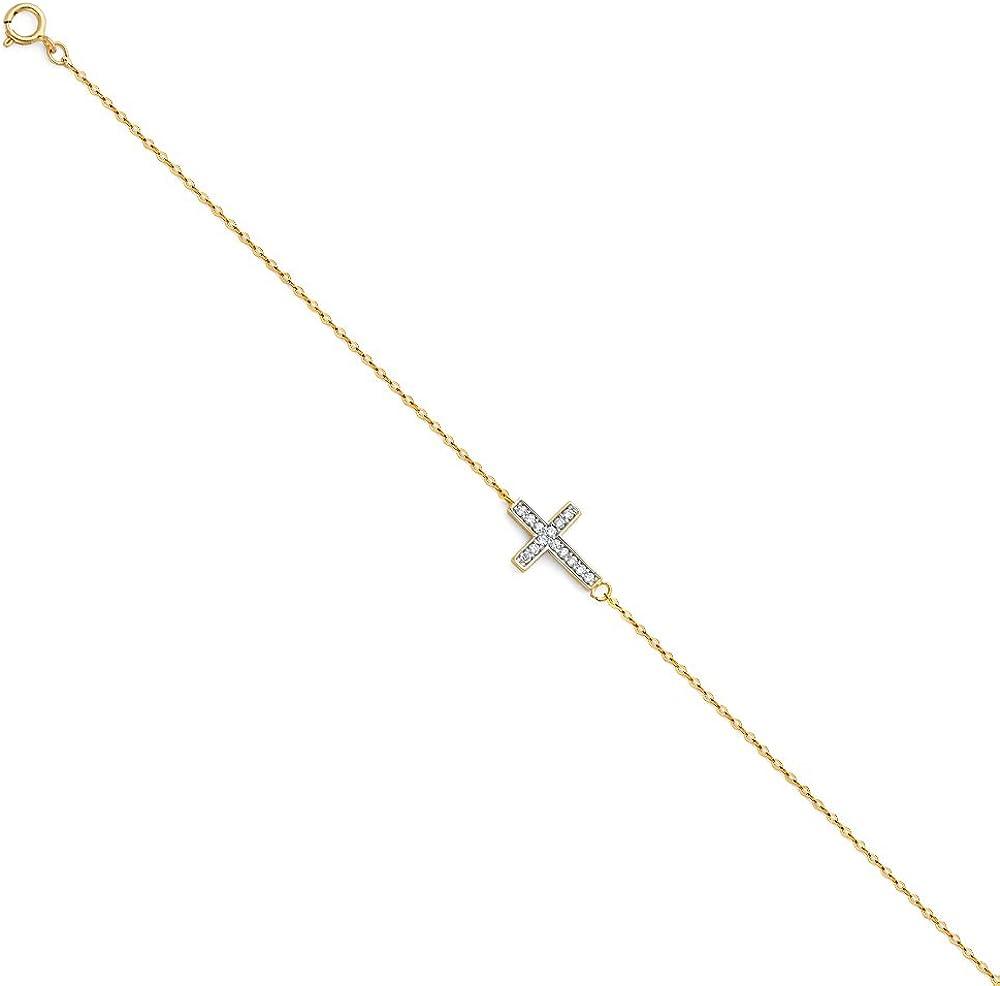 Yellow Charlotte Mall Light Cubic Zirconia Chain Bracelet Gold 14k OFFicial shop Lengt