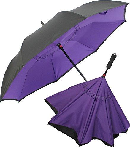 iX-brella Reverse - Regenschirm umgekehrt - umgedreht zu öffnen - schwarz-Berry