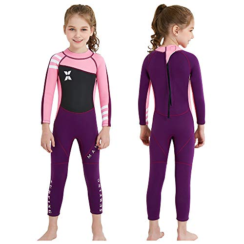 MWTA Wetsuit for Kids Girls 2.5mm Neoprene Thermal Swimsuit Fullsuit Wet Suits Long Sleeve for Toddler Child Swimming, Diving, Surfing Pink&Purple L