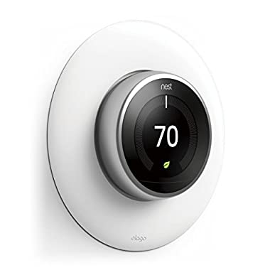 elago Wall Plate Cover for Nest Learning Thermostat [Matte White] - [Complementary Rounded Design][Hard ABS Material][Easy Installation] - for 1st, 2nd, 3rd Generation (Not Compatible with Nest E)