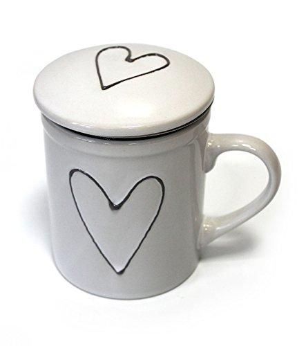 TEMPELWELT Tasse Teebecher Herz mit Deckel und Teesieb 10cm groß, aus Porzellan weiß grau bemalt mit Herzchen Motiv, Teetasse Becher mit Henkel