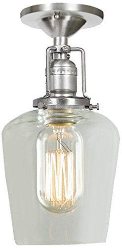 JVI Designs 1301-18 G4-AM 1-Light Grand Central Ceiling Mount with Antique Mercury Mouth Blown Glass Ramona Shade 6 Wide