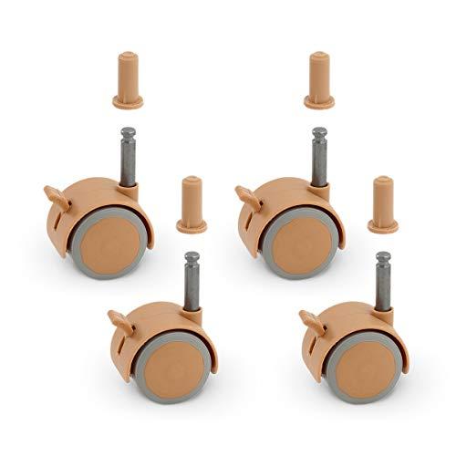 FabiMax 2802 Parkettrollensatz (4 Stück) mit Bremse für Kindermöbel, beige