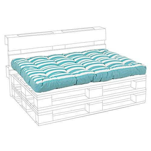 Bizzotto Coussin de dossier pour repose-pieds, canapés, palettes, canapés avec bancs 120 cm en bois, coussins rembourrés (assise, turquoise)
