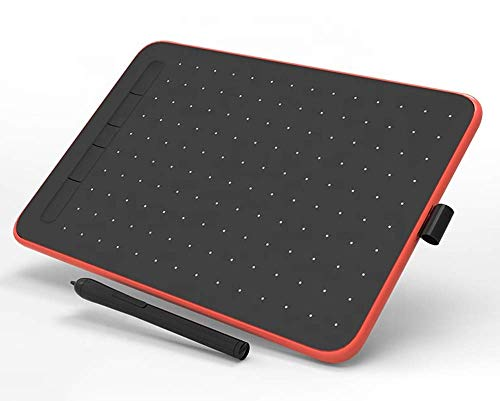 Ovegna W9: Digital Graphics Tablet, Micro USB, Stylus, 10 Inches, for Android and PC Smartphones, MacOS and Windows (Red)
