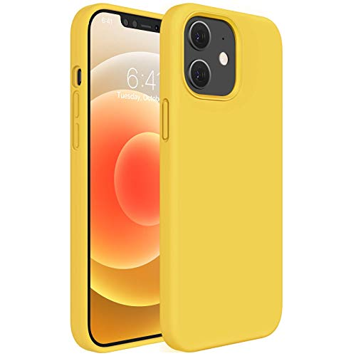 Miracase Compatible with iPhone 12 Case,Designed for iPhone 12 Pro Case 6.1 inch(2020),Liquid Silicone Gel Rubber Full Body Protection Shockproof Drop Protection Case(Yellow)