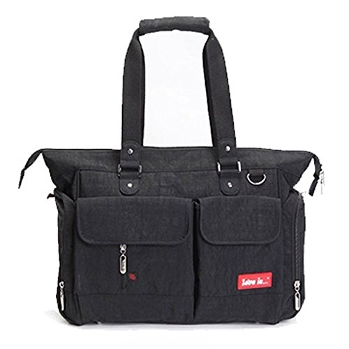 Designer Baby Lichtgewicht Verwisselbare Tas Set 5 Stks Luiertas, 8 Kleuren (Zwart)