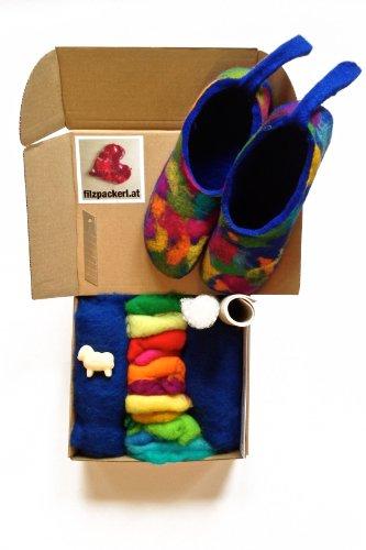 FILZPACKERL Filzset für Pantoffeln od. Hausschuhe zum selber Nassfilzen inkl. Schafwolle, Filzanleitung, Schablonen, Kunstledersohle und Schafmilchseife