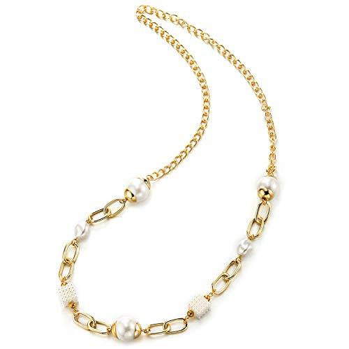 COOLSTEELANDBEYOND Color Oro Marina Cadena Enlace Largo Cadena Statement Colgante Collar con Perlas Sintéticas Rejilla Cubo Colgantes