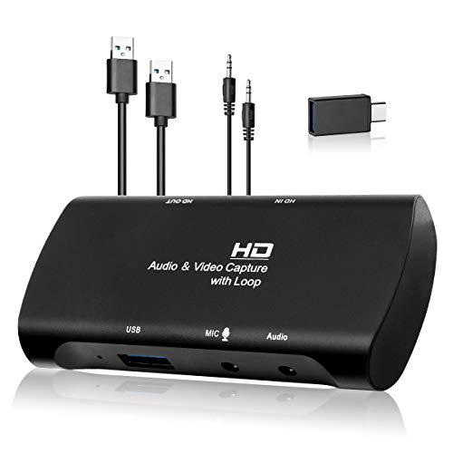 Give me Audio Video Capture Cards 4K HDMI to USB 3.0 Record Card Output High Definition 1080P/30Hz, Record via DLSR, Action Cam and PC for Gaming Streaming Live Broadcasting Teaching