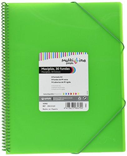 Grafoplás 39833320. Carpeta Fundas A4 de Espiral, Color Verde y 30 Fundas Transparentes, Multiline