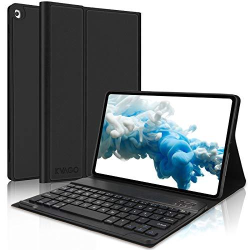 KVAGO Funda con Teclado Español Ñ para Samsung Galaxy Tab A 10.1 2019, Carcasa Slim PU Protectora con Teclado Bluetooth Inalámbrico, Cover para Samsung Tab A 10.1 T510/T515 2019, Negro
