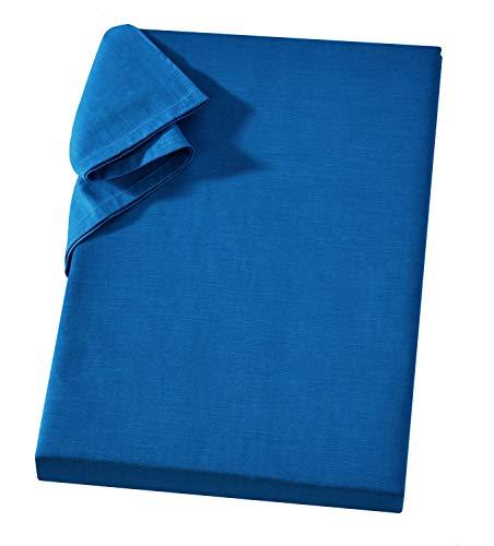 Carpe Sonno Linon Bettlaken Laken ohne Gummizug 240x260 cm Royalblau - Hochwertiger Überwurf Leintuch Haustuch 100prozent Baumwolle - Vielseitiges Tuch Tischdecke Sofaüberwurf und Sesselüberwurf Betttuch