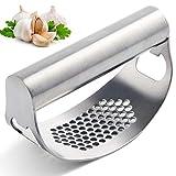 Garlic Press Crusher Kitchen Garlic Rocker Chopper Stainless Steel Ginger Crusher Mincer, Easy to Clean