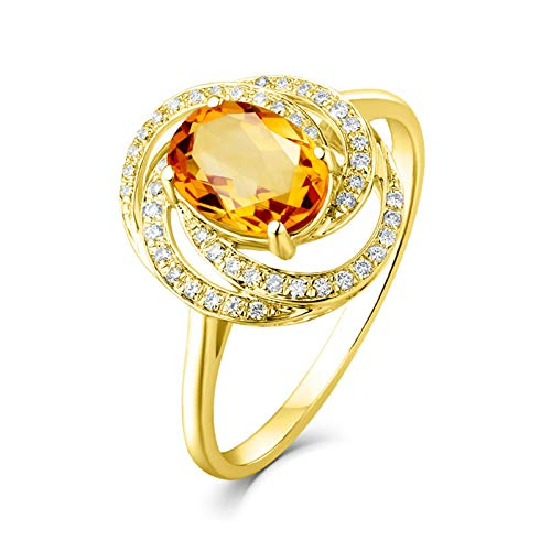 AueDsa Ring Yellow Gold 18K Gold Ring for Women Rose Flower Ring wiht Citrine 0.94ct Ring Size L 1/2