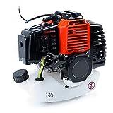 Motore a Scoppio Benzina 2 Tempi 5,2CV 52cc Universale monocilindrico Raffreddamento ad Aria per decespugliatore rasaerba Tosaerba potatore, avviamento a Strappo