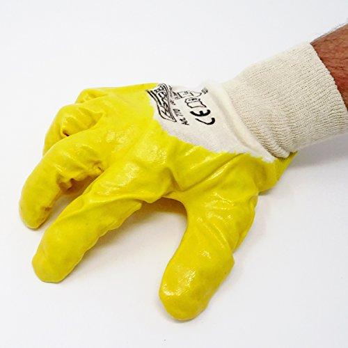 SBS® Nitrilhandschuhe | 12 Paar | Gelb | Gr. 10 XL | mit Strickbund Nitril-Handschuhe | Arbeitshandschuhe