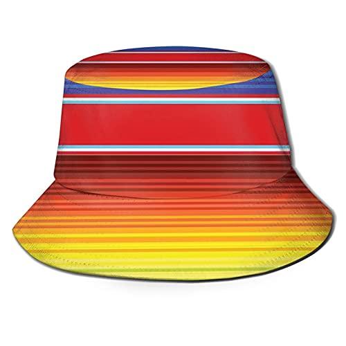 Horizontale und farbige ethnische Decke, Teppich, Linienmuster, lebendiges, abstraktes Design, Sonnenhut, Eimer-Stil, für Herren und Damen, faltbarer Fischer, Strandhut, Sonnenschutz