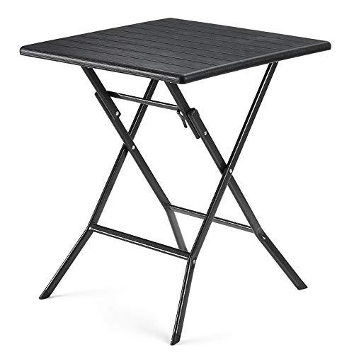 SONGMICS Klapptisch, kleiner Gartentisch mit imitierter Holzmaserung aus Kunststoff, wasserfest, stabile Standbeine aus Eisen, Huf-artige Standfüße, Sicherheitsriegel, 62 x 62 x 73 cm, schwarz GPT04BK