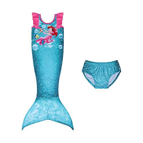 Niños Niñas Traje de baño de Sirena Traje de baño de Sirena Cola de Sirena Swimmable 3 Piezas Traje de baño Bikini Tankini Set Edad 3-8Y