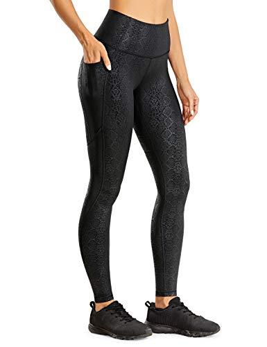 CRZ YOGA Damen Faux Leather Leggings Hohe Taille Kunstleder Sporthose mit Taschen-71 cm Schwarze Schlange 38