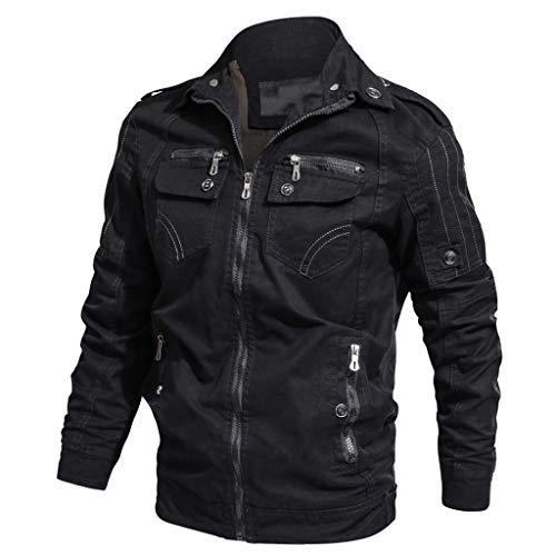 KPILP Herren Übergangsjacke Winterjacke Stehkragen Fliegerjacke Bomber Jacke Mantel Atmungsaktiv Outwear Mehrfache Tasche Herbst Winter Sport Jacke
