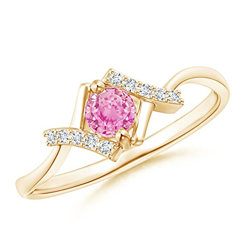 Angara.com  -  Gold 14 Karat (585)  14 Karat (585) Gelbgold Rundschliff    Diamant Pinkfarbener Saphir