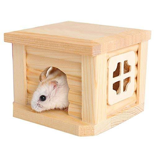 BANGBANGSHOP - Gabbia per criceti, Topi, ratti, casetta in Legno Naturale, Tetto Piatto, Giocattolo per Animali Domestici
