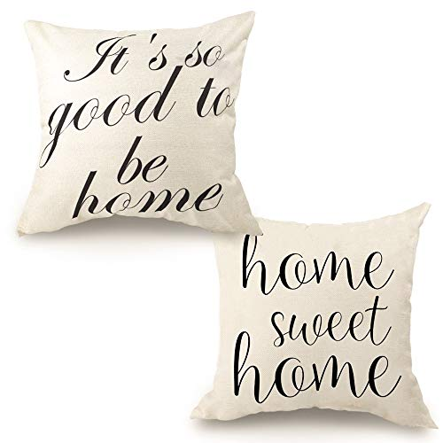 CDWERD 2pcs Farmhouse Throw Pillow Covers Linen Rustic Pillow Case 18 x 18 inches with Home Sweet Home and It