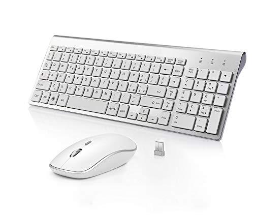 BJL Tastiera e Mouse Wireless,Full-size Tranquilla Slim Tastiera Numerico e Mouse Ergonomico da 2400 DPI per PC,Desktop,Computer,Notebook,Laptop,Windows XP /Vista/7/8/10(QWERTY Italia)-Argento bianco